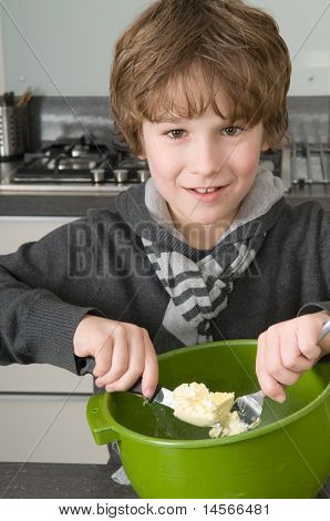 Boy Making The Dough