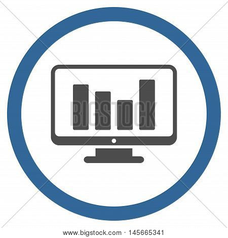 Bar Chart Monitoring vector bicolor rounded icon. Image style is a flat icon symbol inside a circle cobalt and gray colors white background.