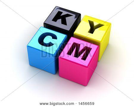 Caixas com letras Cmyk