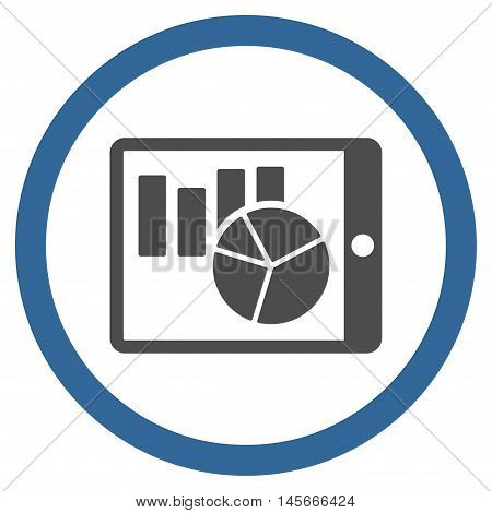 Charts on Pda vector bicolor rounded icon. Image style is a flat icon symbol inside a circle cobalt and gray colors white background.