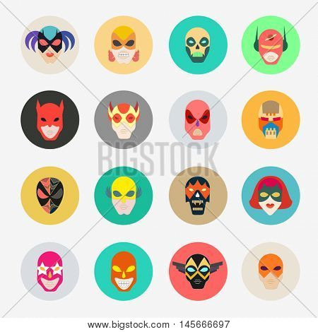 Super hero masks for face character. Superhero flat icons. Symbol of strong and heroic savior. Vector illustration isolated on white