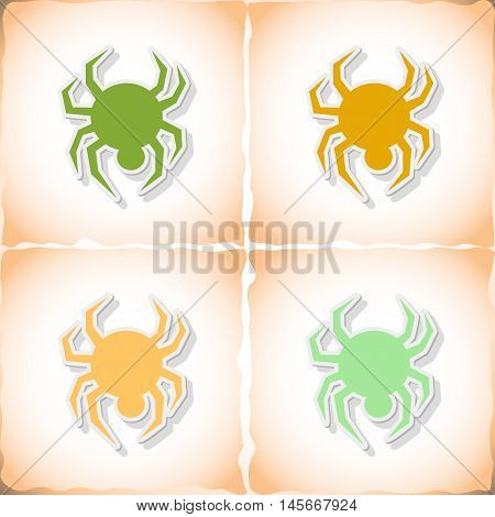 Spider. Flat sticker with shadow on old paper. Vector illustration