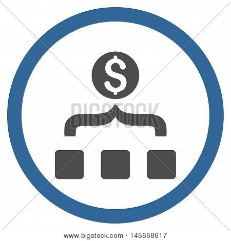Money Aggregator vector bicolor rounded icon. Image style is a flat icon symbol inside a circle, cobalt and gray colors, white background.