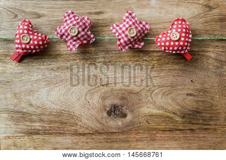 red heart and star clothespins for background