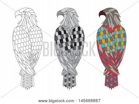 vector Printable coloring page for adults with the eagle. Colorful, black white and outline illustration