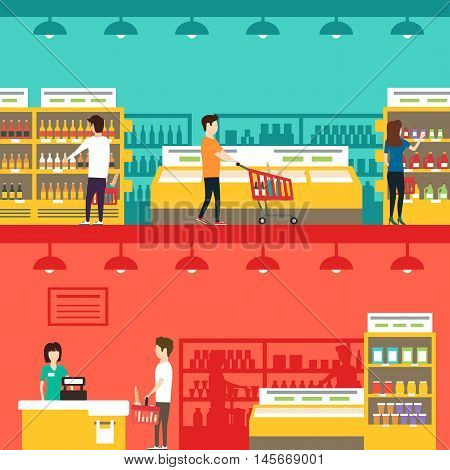 People in supermarket. Vector flat illustration. People shopping. Indoor market. Grocery store
