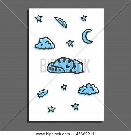 Greeting card with sleeping raccoon, moon and stars. Vector postcard layout. Sweet doodle raccoon, clouds and feathers