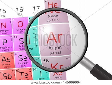 Element Of Argon With Magnifying Glass