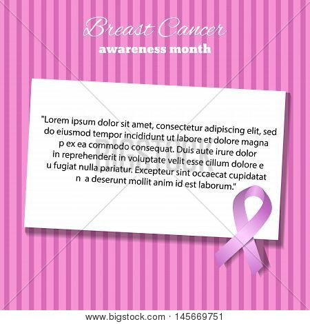 Awareness Pink Ribbon Empty Paper Blank Gift Tag Vector Illustration Eps 10