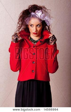 Beautiful ethnic woman fashion shot in studio