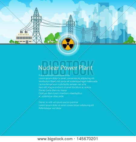 High Voltage Power Lines Supplies Electricity to the City, Poster Brochure Flyer Design, Text on Blue Background, Radiation Sign, Vector Illustration