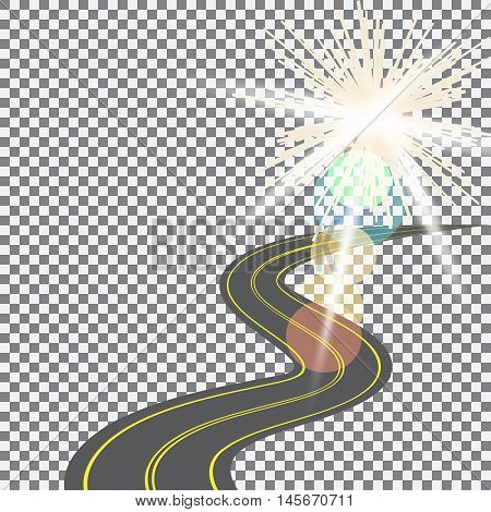 Receding into the distance the road with yellow markings on the background of the sun. Abstract checkered design. Vector illustration