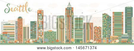 Abstract Seattle City Skyline with Color Buildings. Business Travel and Tourism Concept with Modern Buildings. Image for Presentation, Banner, Placard and Web Site.