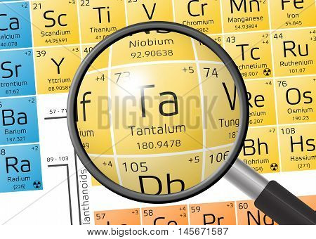 Element Of Tantalum With Magnifying Glass