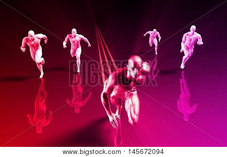 Business People Running with a Clear Winner 3D Illustration Render