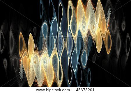 Abstract psychedelic waves on black background. Computer-generated fractal in blue grey beige yellow and orange colors.
