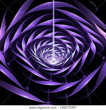 Abstract shining 3d flower on black background. Fantasy fractal design in faded blue pink and violet colors.