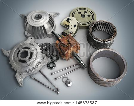 Opened Electric Motor 3D Render Isolated On Gradient Background