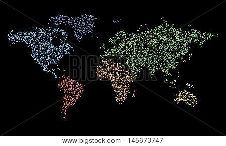 Map in dots. Vector world political map eps 10 illustration. Continents color particles