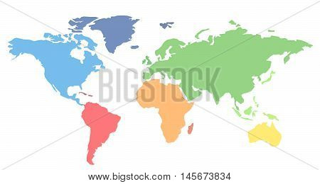World Map. Vector flat colorful illustration continents