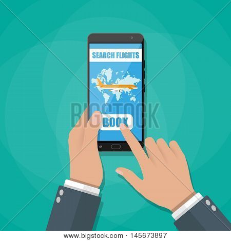 Online booking for airplane tickets. Human hand with mobile phone with booking application. vector illustration in flat style
