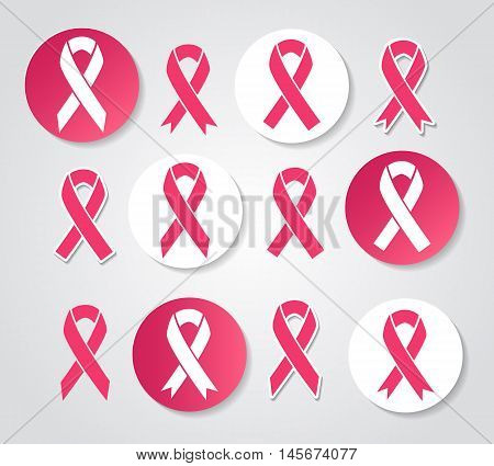 Pink ribbon bow vector icons, woman breast cancer and concerned medical signs
