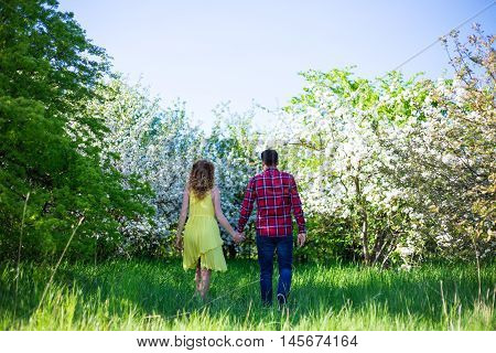 Back View Of Young Happy Couple Walking In Summer Garden