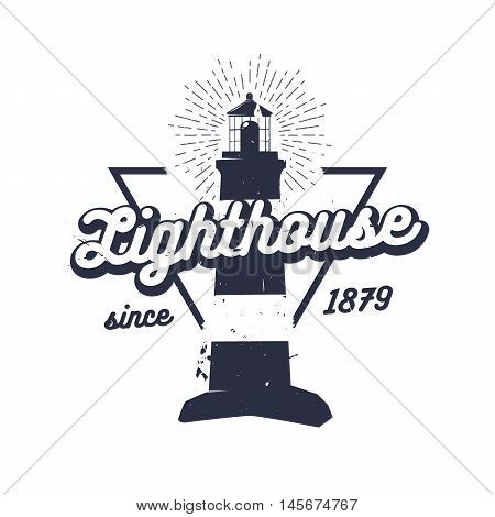 Retro nautical label with lighthouse, sunburst and lettering. Vector illustration for label, t-shirt print, vintage badges and logo design.