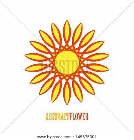 Vector Abstract Yellow Flower Mandala Icon isolated over white background. Invitation element. Tattoo, astrology, alchemy, boho, logo and magic symbol for your projects. Easy use and recolor.