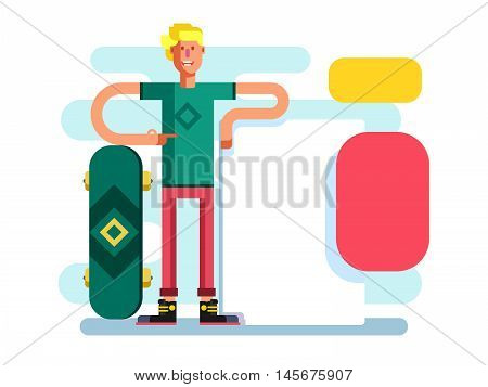 Skateboarder with advertising. Poster and sportsman young with skate, placard advertisement, vector illustration