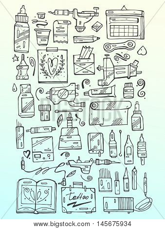 Hand draw vector tattoo icon set,  black and white for tattoo salon and tattoo shop.