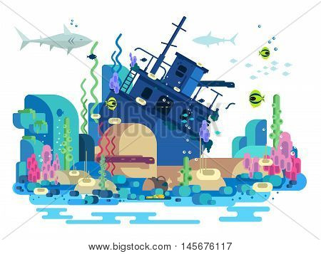 Sunken ship under water. Sea reef and fish, underwater nature, vector illustration
