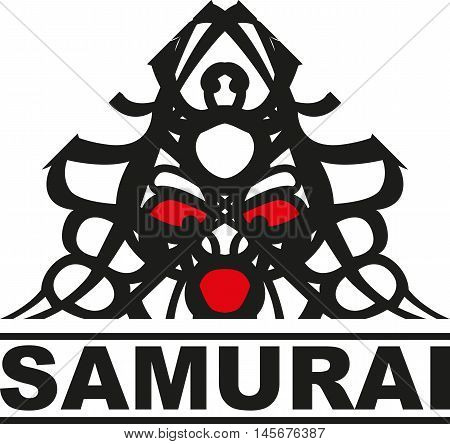 logo with a graphic image of a Japanese samurai