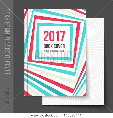 Bright cover design for business brochure, annual report, book cover, magazine cover, party poster. Light blank inner page added, with matching pattern. Vector template for brochure design.