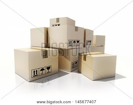 A lot of cardboard box for moving (done in 3d rendering)