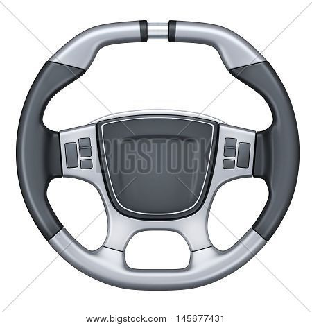 Steering wheel car isolated (done in 3d rendering)