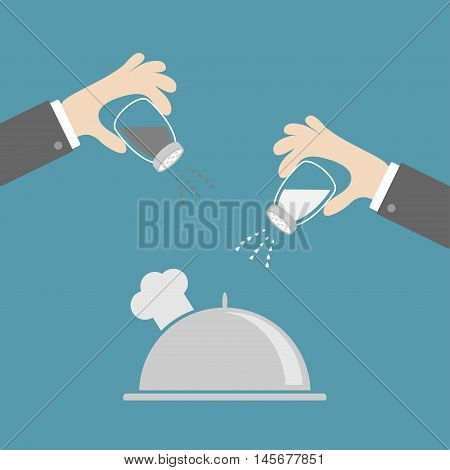 Silver platter cloche chef hat. Hands with salt pepper shaker. Glass container. Heart crystal. Flat design. Blue background. Vector illustration