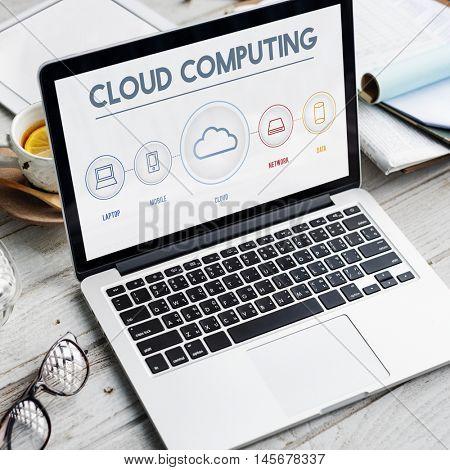 Cloud Computing Data Digital Storage Graphic Concept