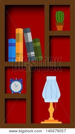Abstract graphic cupboard with book and items. EPS10