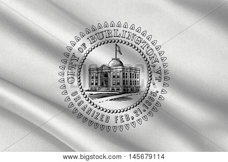 Flag of Burlington in Vermont state of USA. 3D illustration
