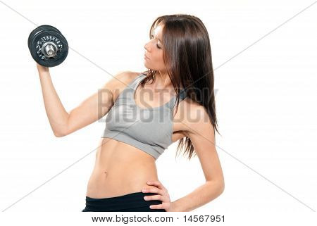 Fitness Woman Working Out Dumbbells In Gym