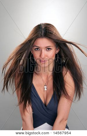 Young Brunette Fashionable Woman Beauty Portrait