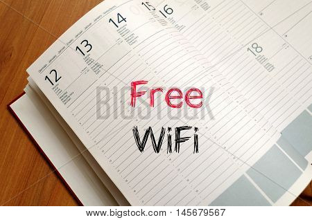Free wifi text concept write on notebook
