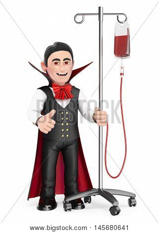 3d halloween people illustration. Funny monster. Vampire in hospital with serum. Isolated white background.