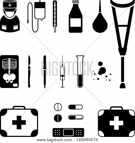 Abstract graphic set of medical black icon
