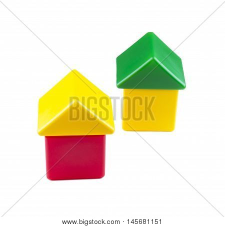 The house from color blocks isolated. baby house