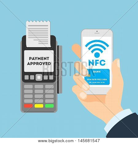 Payment approved concept. Credit card with nfc. Man paying with credit card.