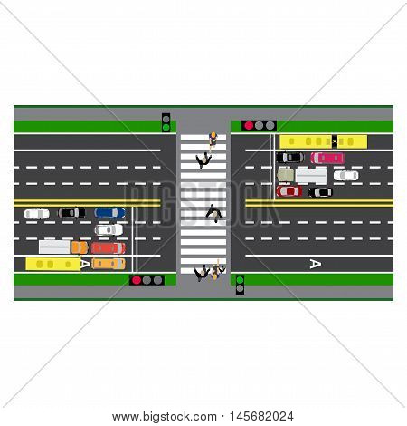 Road infographics. Plot road, highway, street. Crossing. With different cars. loaded maps of roads and public transport. Top view of the highway. Vector illustration