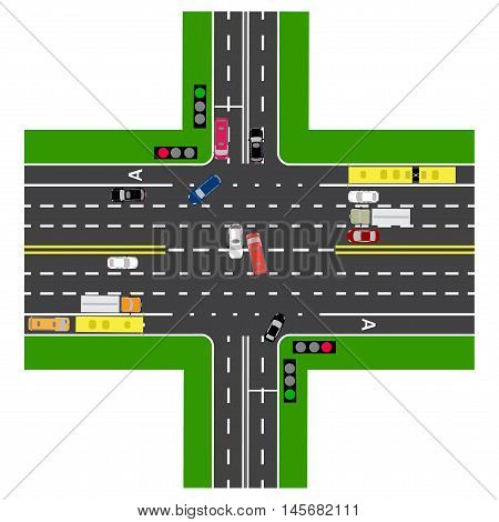 Road infographics. Most of the highway intersection with the road. With the cars and traffic lights. Green signal for the non-principal roads. The loaded road maps and public transport. Top view of the highway. Vector illustration