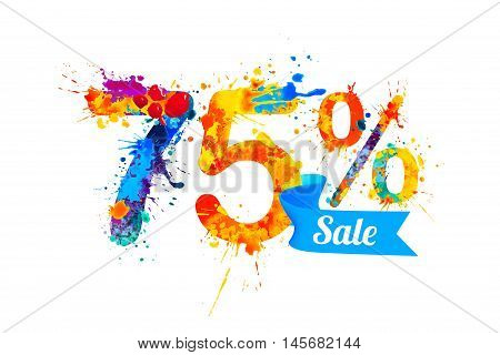 seventy five (75) percents sale. Vector splash paint
